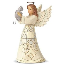 Enesco Jim Shore Heartwood Creek White Woodland Farmhouse Angel and Cat Figurine - $23.76