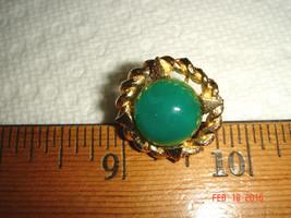 VTG MID CENTURY MODERN BRAIDED GOLD NEST JADE STONE TIE TACK COLLAR BLAZ... - $67.99