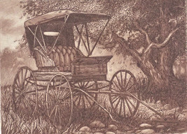 "Scott FitzGerald ""The Old Buggy"" Retail $65! S/N Sepia Horse Drawn Buggy... - $19.95"