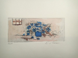 E. Rose -Mini Etching of blue floral display wi... - $12.99