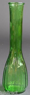 "Vintage Forest Green Fluted Paneled Pattern Flower Vase 8"" Home Decor Accent Art"