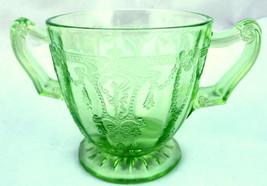 Green Glass Cameo Depression Sugar Bowl Hocking  - $29.65