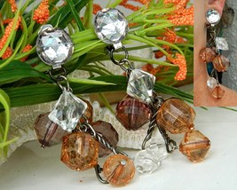 Vintage Dangle Clip On Earrings Cluster Crystal Glass Beads 4 Inches - $24.95