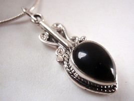 Black Onyx Detailed Sterling Silver Necklace India New - €15,86 EUR