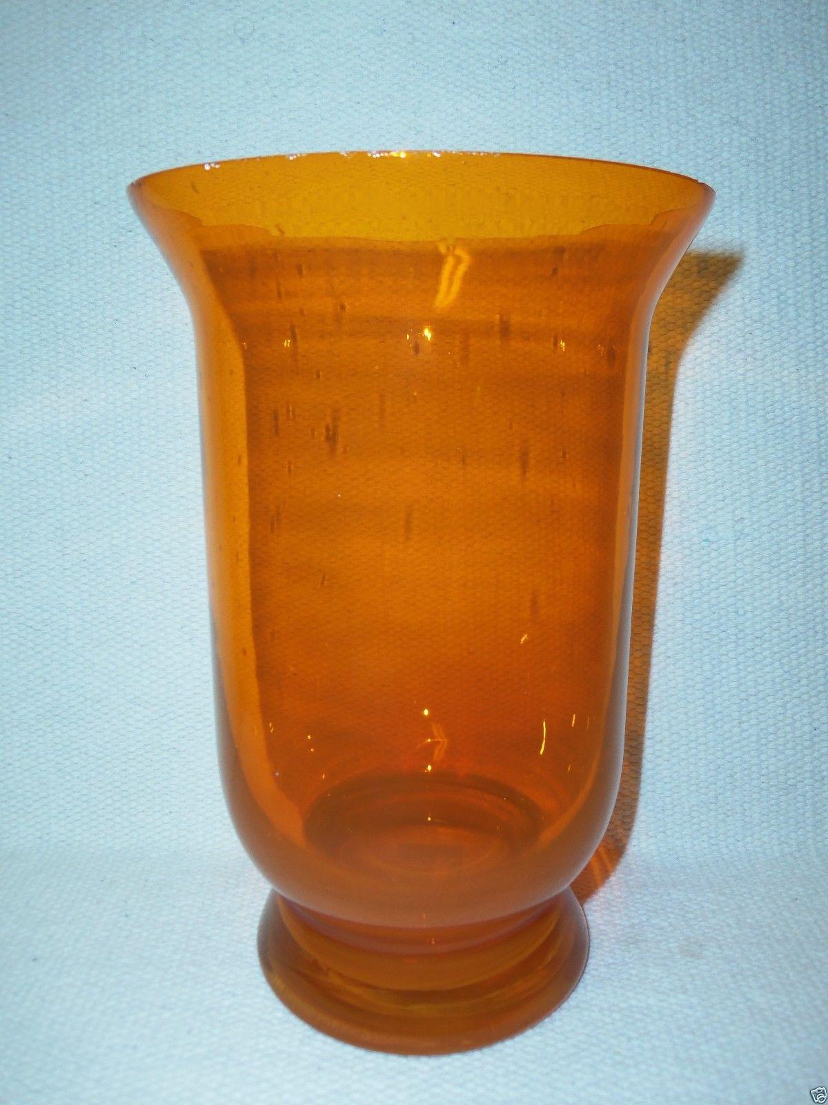 Vintage clear orange clear glass flower vase w seed for Orange vase
