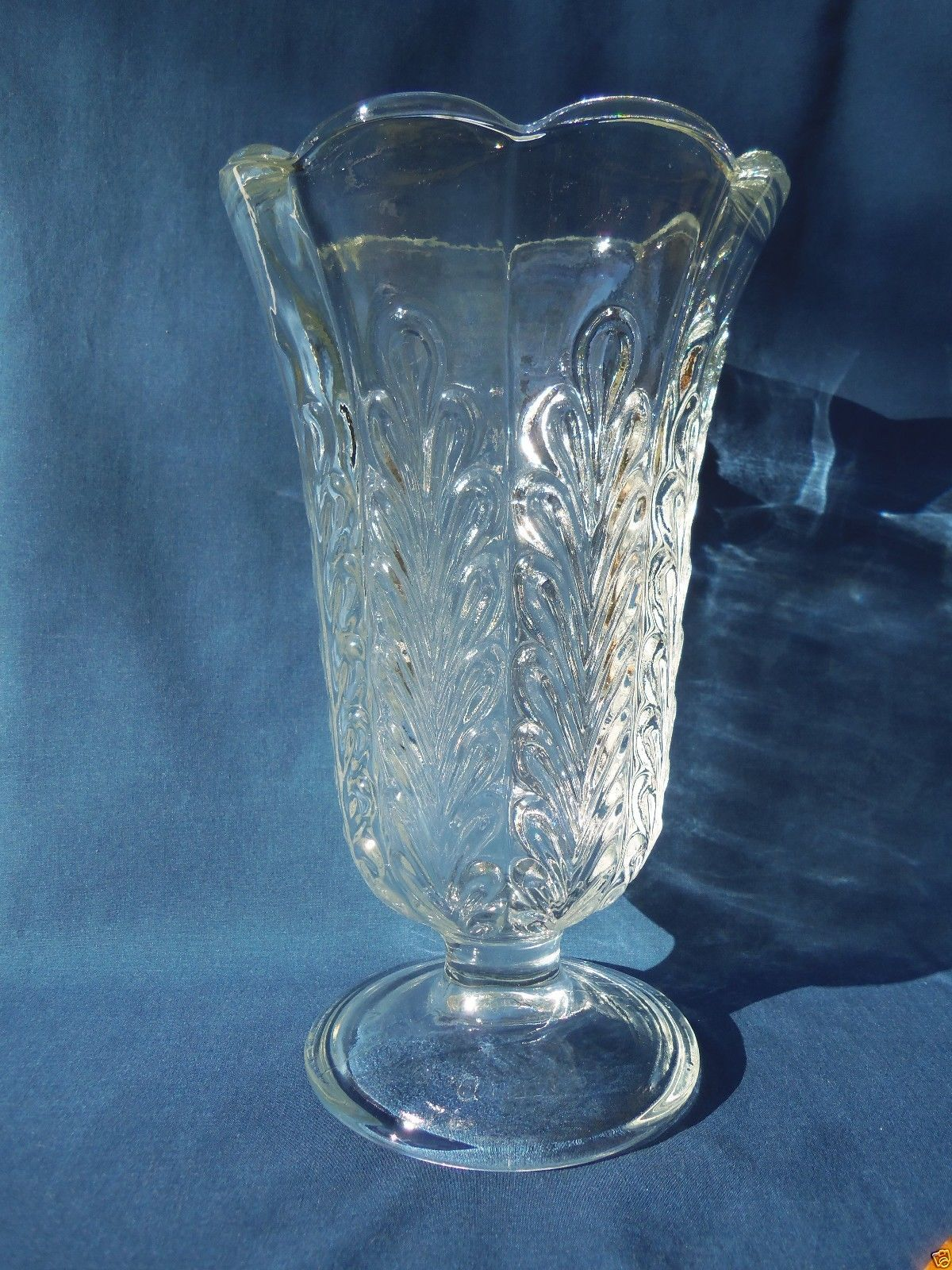 e o brody co usa clear glass pedestal vase m5200 fern leaf design 9 x5 3 8 vtg vases. Black Bedroom Furniture Sets. Home Design Ideas