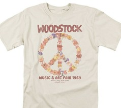 Woodstock T-shirt Peace Flower Free Shipping 100% cotton beige tee WOOD103 image 2