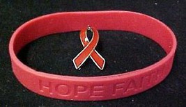 Red Ribbon Pin Silicone Bracelet Set Awareness Lymphoma Cancer Cause New - $11.61