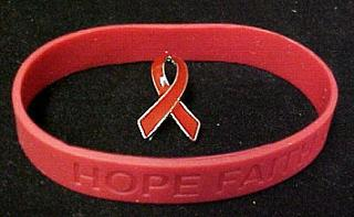 Red Ribbon Pin Silicone Bracelet Set Awareness Lymphoma Cancer Cause New
