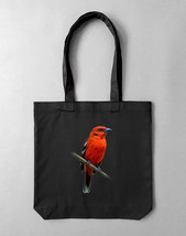 Tote bag in black with print Tanager | unisex tote bag - $42.00
