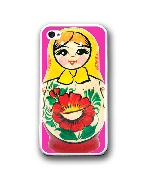 Pink Cutie Russian Doll Red Flower iPhone Case  Rubber Silicone iPhone 4 4s Case