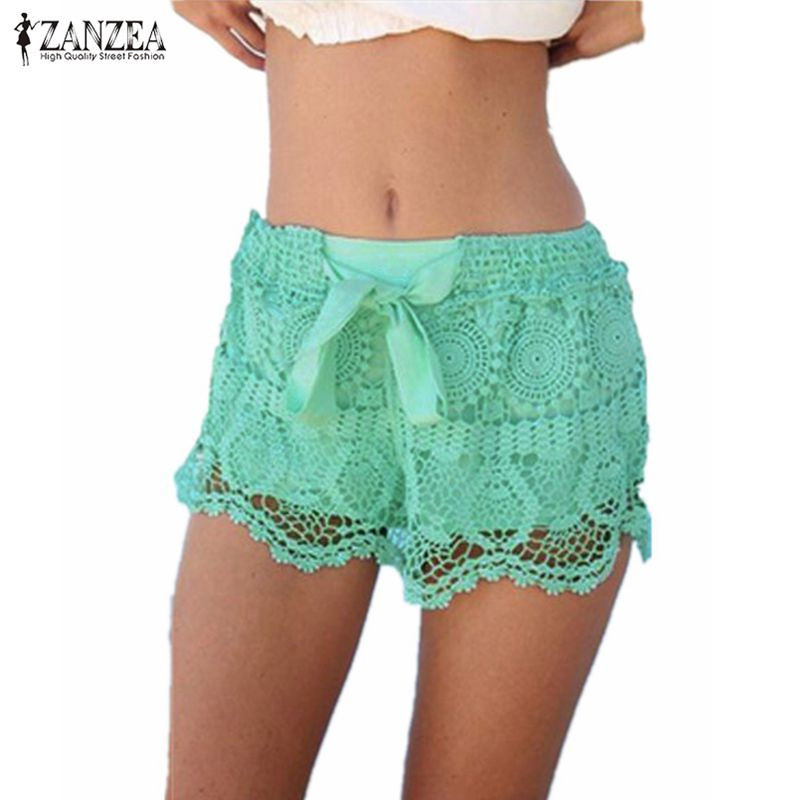 Ival 2018 summer zanzea women shorts casual lace drawstring hollow out shorts solid sweet shorts