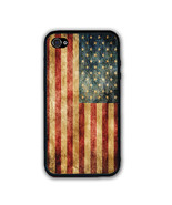 Rustic Vintage American US Flag iPhone Case Rubber Silicone iPhone 4 Case - $10.99