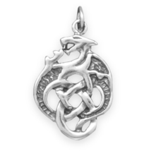 Sterling Silver Celtic Dragon Charm - $24.95