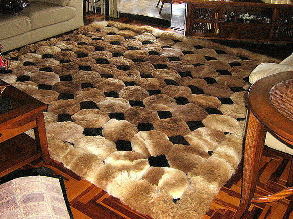 Octagon design alpaca fur rug, browns & black, 90 x 60 cm