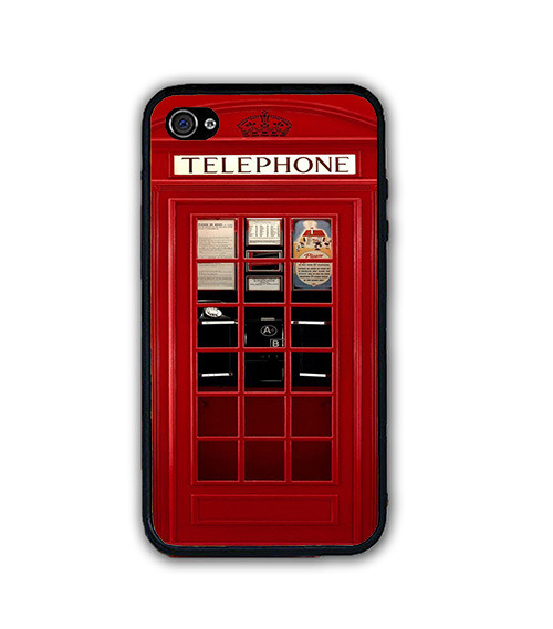 Used, UK British London Red Phone Booth iPhone Case - Rubber Silicone iPhone 4 4s Case for sale  USA
