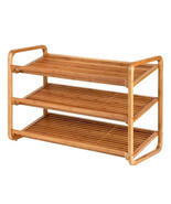 Bamboo Shoe Shelf /Rack/Organizer- 3 Tier Deluxe Holds 12 Pairs of Shoes - $42.00