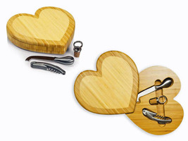 "Bamboo Heart Cutting Board With Wine and  Cheese Tools- 3-D- ""LOVE"" Gift - $49.00"