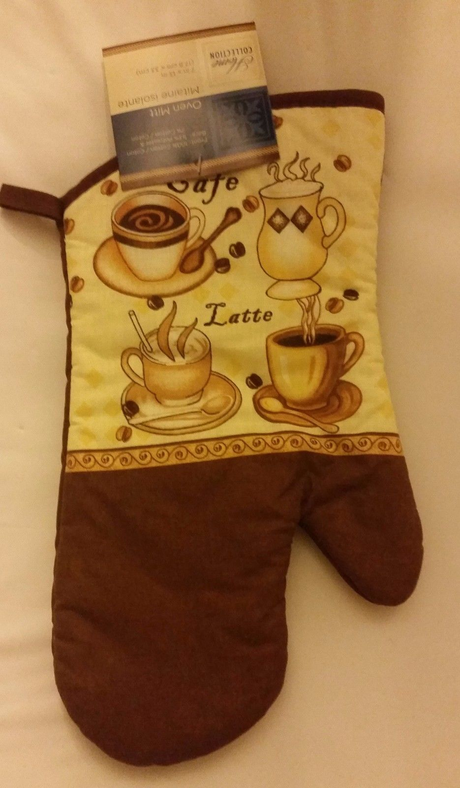 "Primary image for Fabric Printed Kitchen 13"" Jumbo Oven Mitt, COFFEE TYPES, brown back"