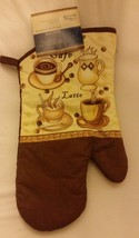 "Fabric Printed Kitchen 13"" Jumbo Oven Mitt, COFFEE TYPES, brown back - $7.91"