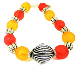 Orange and Yellow  Unique  Resin Choker Necklace One of a Kind Statement Jewelry - $99.00