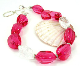 Hot Pink Resin  And Crystal Quartz  Choker Necklace One of a Kind Handcr... - $99.00