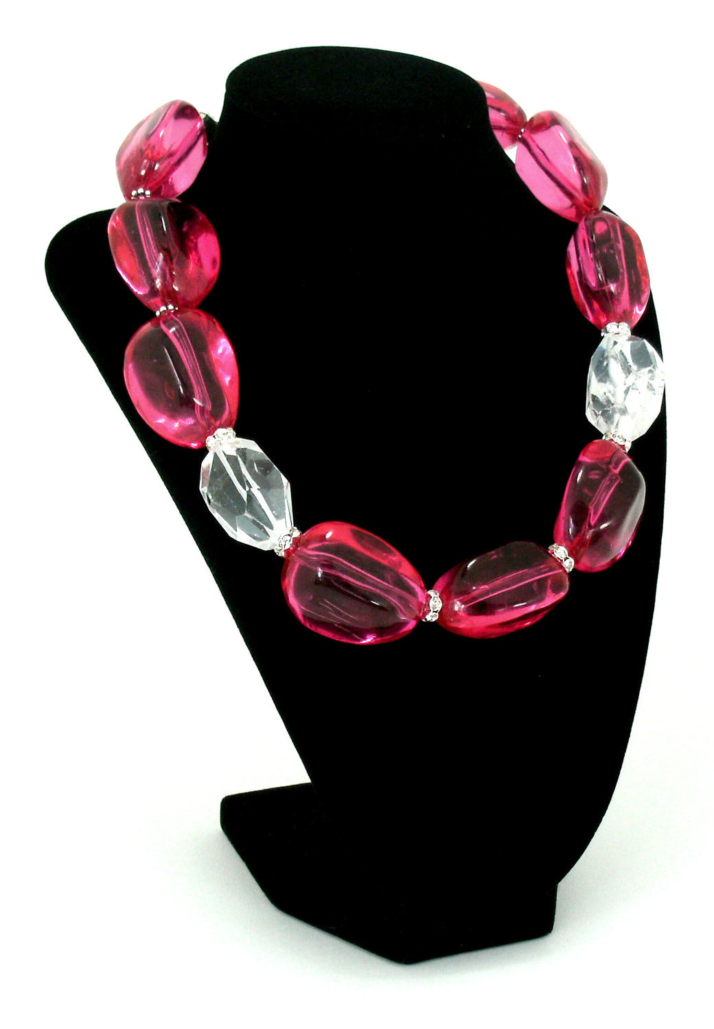 Hot Pink Resin  And Crystal Quartz  Choker Necklace One of a Kind Handcrafted