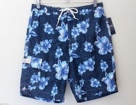 NWT CHAPS Men's Swim Shorts Surf Trunks Navy Blue Hawaiian Boardshorts M XL $50 - $39.00