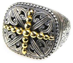 Gerochristo 2541- Solid Gold & Sterling Silver Medieval Cross Ring  / s... - $380.00