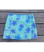 Lilly Pulitzer Girls 7 Skirt Wrap-Around Reversible Green Blue Flowers Q15 - $19.79