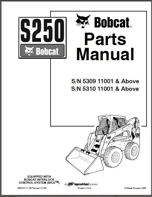 bobcat s250 skid steer loader parts manual and 50 similar items  57