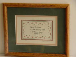 Linda Grayson Framed Signed and Dated Print 'RULES OF THE HO - $21.99