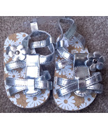 NEW Baby Girl's Size 2 Metallic Silver Floral W/ Studs Designed Velcro S... - $16.00