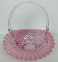 "Vintage Cranberry Opalescent Hobnail Ruffle Edge Basket 10"" - $64.35"