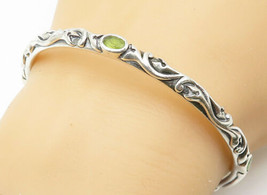 LYRIC 925 Silver - Vintage Peridot Accented Floral Swirl Bangle Bracelet... - $89.10