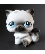 Littlest Pet Shop LPS #60 Gray Black & White Persian Kitty Cat Blue Eyes - $11.71