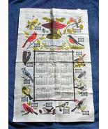 VINTAGE 1999 LINEN KITCHEN TOWEL SONG BIRD FEAST BLUE JAY ROBIN FINCH WO... - $14.80