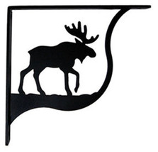 "Wall Shelf Bracket Pair Of 2 Moose Pattern Wrought Iron 9.25"" L Crafting... - $49.99"