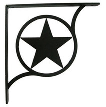 "Wall Shelf Bracket Pair Of 2 Western Star Pattern Wrought Iron 5.25"" L C... - $37.99"