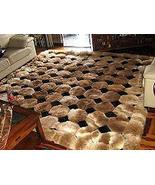 Octagon design alpaca fur rug, browns & black, 300 x 280 cm - $1,588.60