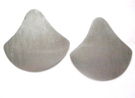 Vintage Unique Flat Silver Tone Earrings 1970-80's Light Weight Metal Shaped - $6.75