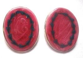"""1"""" x 1 1/2"""" Oval Stud  Earrings Vintage 1970-80's Enameled Metal Rose & Blue - $7.14"""