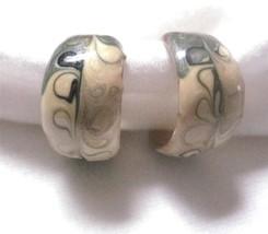 Vintage Small Open Back Hoop Pierced Earrings 1970-80's Enamel Metal Sage Cream - $7.34