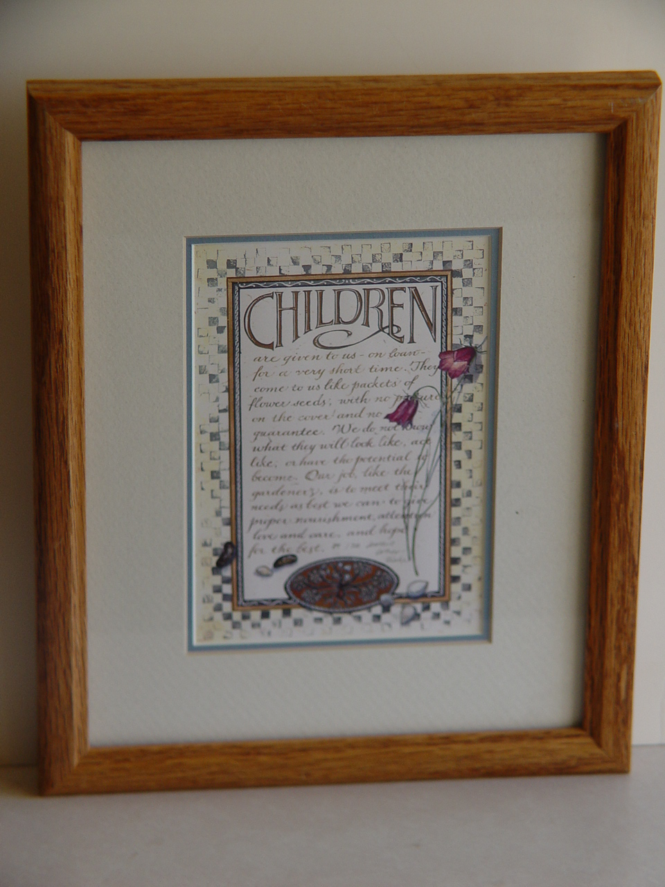 "Primary image for Framed Calligraphy ""Children"" by  Lorraine Ortner Blake FREE SHIPPING"