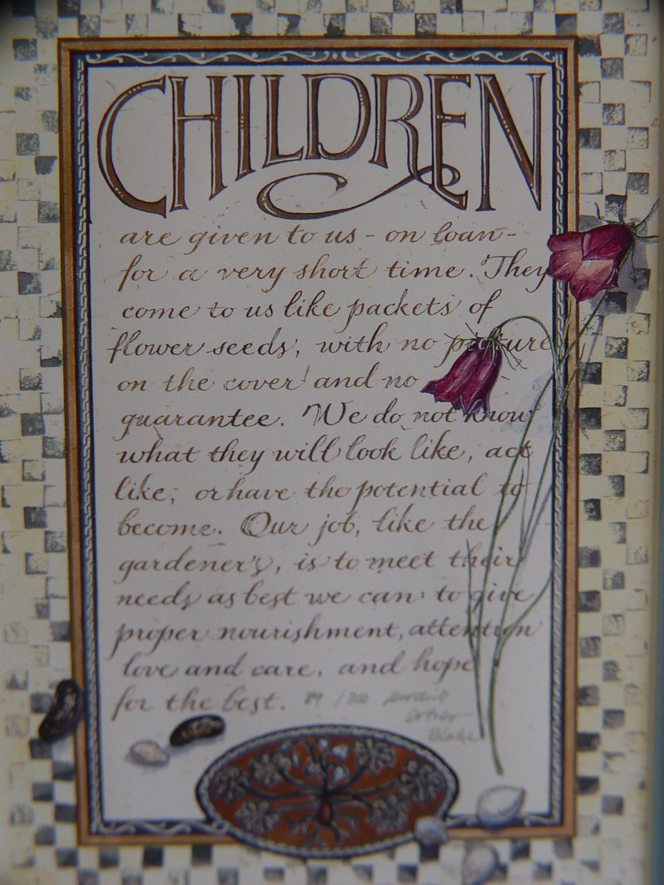 """Framed Calligraphy """"Children"""" by  Lorraine Ortner Blake FREE SHIPPING"""