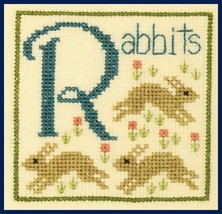 R is for Rabbits SC30 mini cross stitch chart Elizabeth's Designs  - $3.60