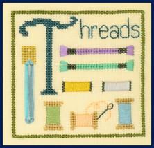 T is for Threads SC32 mini cross stitch chart Elizabeth's Designs  - $3.60