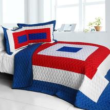 [Sun's Passion] Cotton Vermicelli-Quilted Patchwork Geometric Quilt Set Full/Que - $101.99