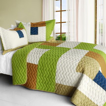 [Timeless - A] Cotton Vermicelli-Quilted Patchwork Geometric Quilt Set Full/Quee - $101.99
