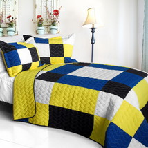 [Little Smile] Cotton Vermicelli-Quilted Patchwork Geometric Quilt Set Full/Quee - $101.99